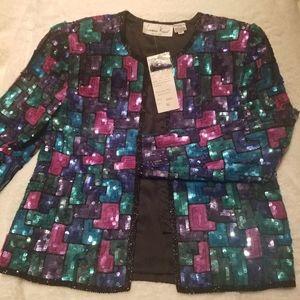 Laurence Kazar ladies'silk sequin vintage jacket